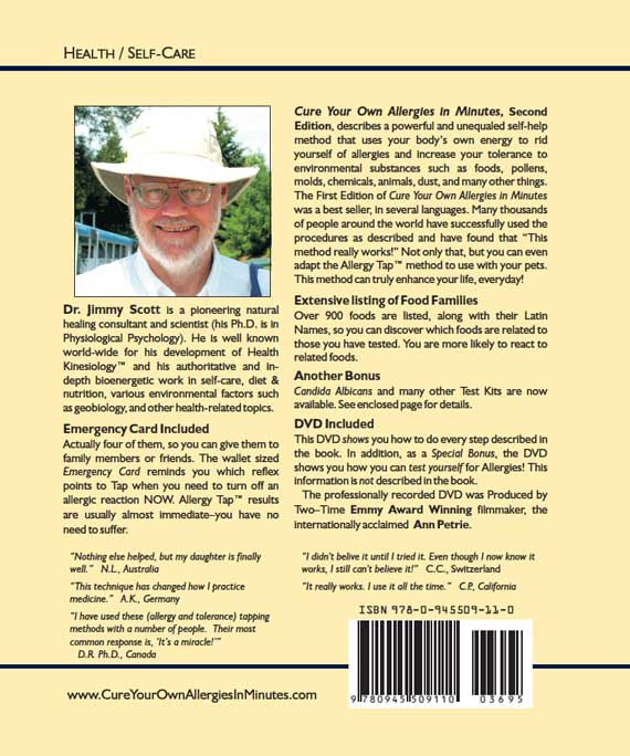 Cure Your Own Allergies In Minutes 2nd Edition Back Cover